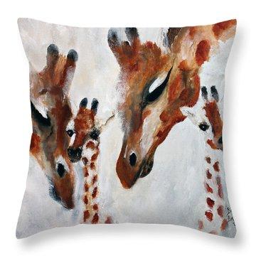 Giraffes - Oh Baby Throw Pillow by Barbie Batson