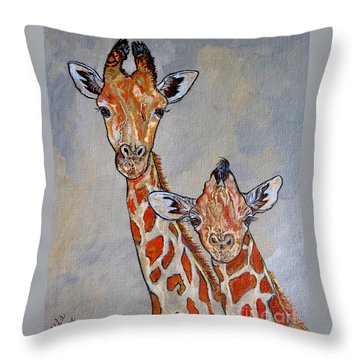 Giraffes - Standing Side By Side Throw Pillow