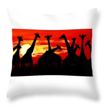 Giraffes Sunset Africa Serengeti Throw Pillow