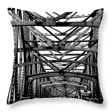 Girders Over The Mississippi In Black And White Throw Pillow