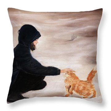 Girl And A Cat Throw Pillow