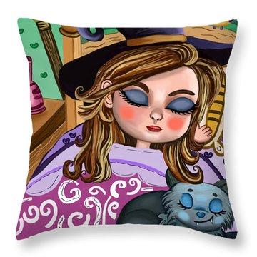 Girl And Cat Throw Pillow