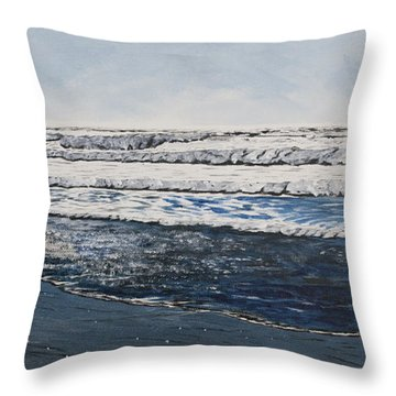 Girl And Dog Walking On The Beach Throw Pillow