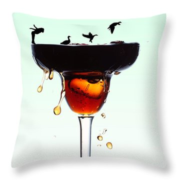 Girl And Geese Liquid Art Throw Pillow