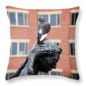 Girl And Her Pigeon Throw Pillow by Zinvolle Art