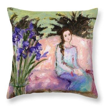 Girl And Iris Throw Pillow