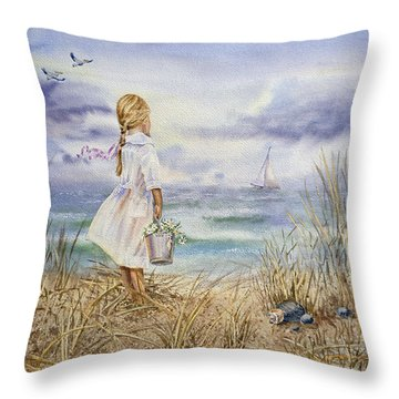 Girl At The Ocean Throw Pillow by Irina Sztukowski