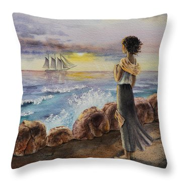 Girl And The Ocean Sailing Ship Throw Pillow by Irina Sztukowski