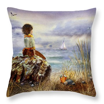 Girl And The Ocean Sitting On The Rock Throw Pillow
