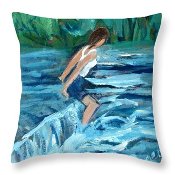Girl Bathing In River Rapids Throw Pillow