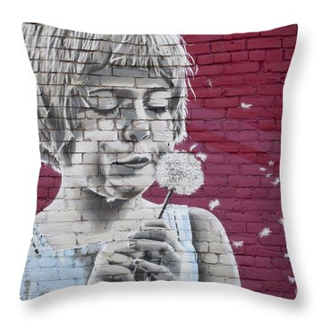 Girl Blowing A Dandelion Throw Pillow