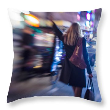 Girl Catching A Taxi In Manhattan Throw Pillow