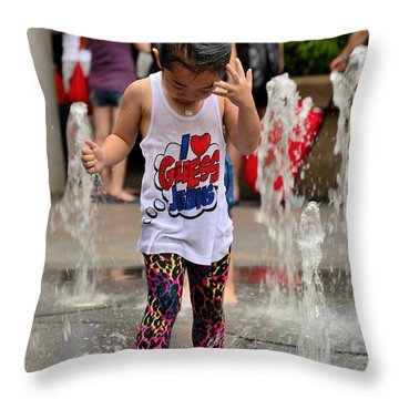 Girl Child Plays With Water At Fountain Singapore Throw Pillow
