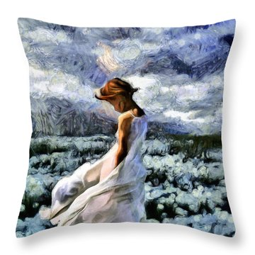 Girl In A Cotton Field Throw Pillow