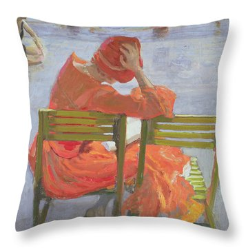 Girl In A Red Dress Reading By A Swimming Pool Throw Pillow by Sir John Lavery