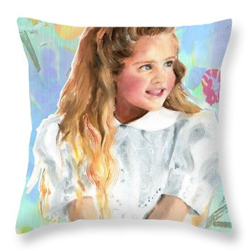 Girl In A White Lace Dress  Throw Pillow
