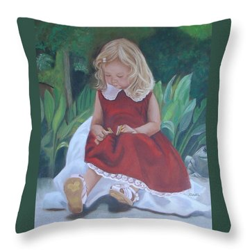 Girl In The Garden Throw Pillow