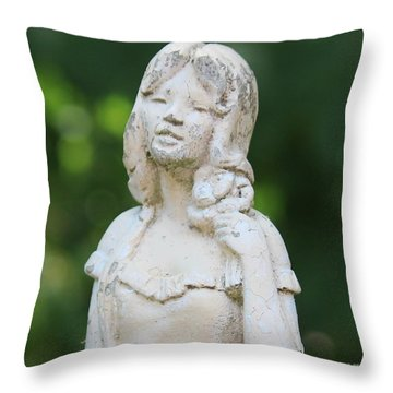 Girl In The Garden Statue Throw Pillow