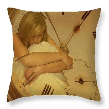 Girl In White Dress In Pocket Watch Throw Pillow by Amanda Elwell