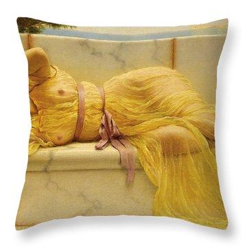 Girl In Yellow Drapery Throw Pillow