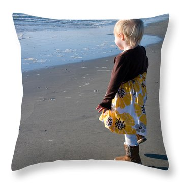 Throw Pillow featuring the photograph Girl On Beach by Greg Graham