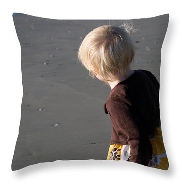 Throw Pillow featuring the photograph Girl On Beach II by Greg Graham