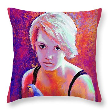 Throw Pillow featuring the digital art Girl On Fire by Jane Schnetlage