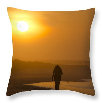 Girl On The Beach  Throw Pillow by Bill Cannon