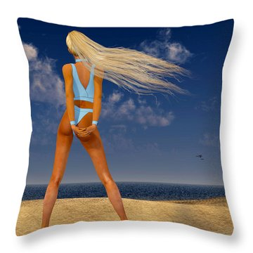 Girl On The Beach... Throw Pillow