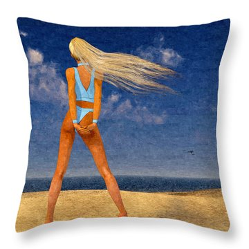 Girl On The Beach...watercolor Effected Throw Pillow