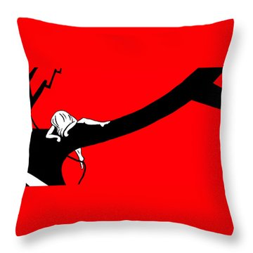 Girl On The Tree Of Time Red Throw Pillow