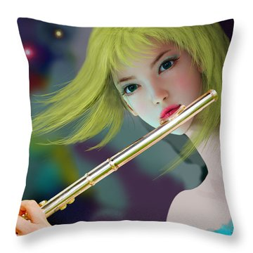 Girl Playing Flute 2 Throw Pillow