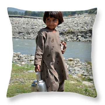Throw Pillow featuring the photograph Girl Poses For Camera  by Imran Ahmed