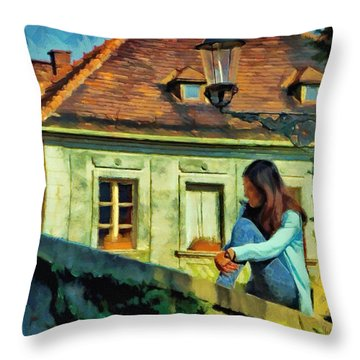 Girl Posing On Stone Wall Throw Pillow by Jeff Kolker