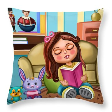 Throw Pillow featuring the painting Girl Reading by Bogdan Floridana Oana