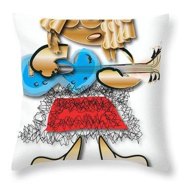 Throw Pillow featuring the digital art Girl Rocker 6 String Guitar by Marvin Blaine