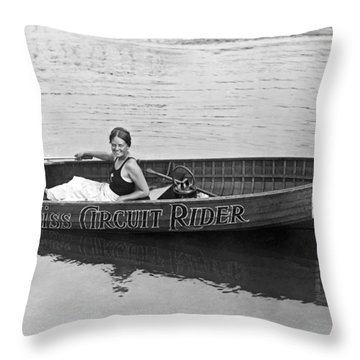 Girl Speedboatdriver To Race In President's Cup Races Throw Pillow