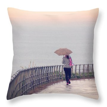 Girl Walking With Umbrella Throw Pillow