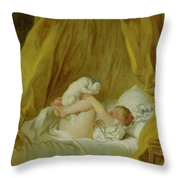 Girl With A Dog Throw Pillow by Jean Honore Fragonard