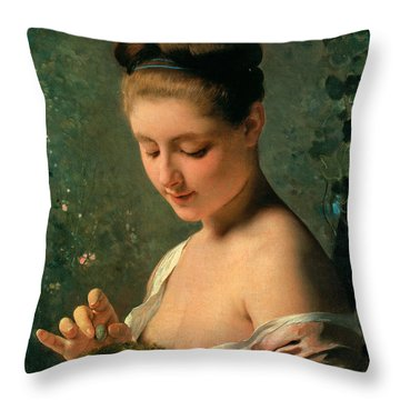 Girl With A Nest Throw Pillow by Charles Chaplin