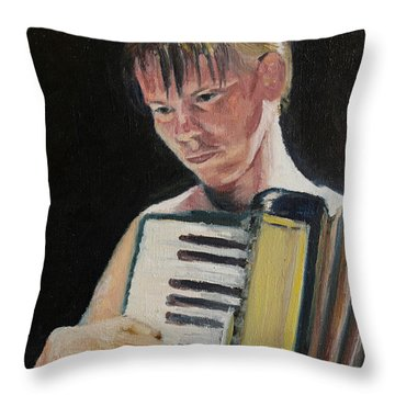 Girl With Accordion Throw Pillow