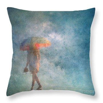 Girl With An Umbrella 3 Throw Pillow