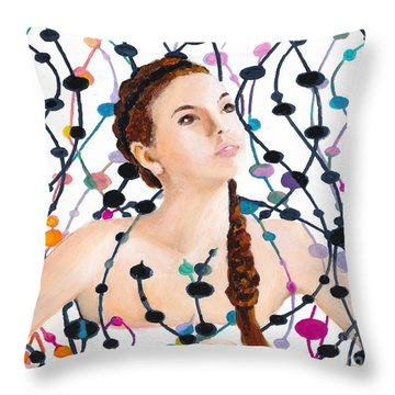 Girl With Beads Throw Pillow