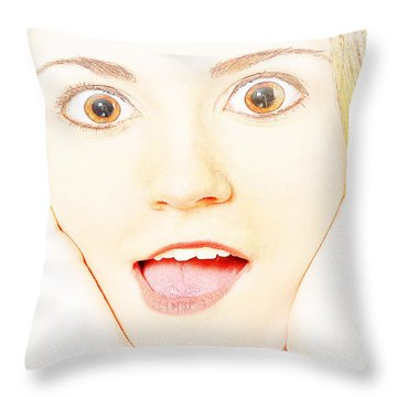 Throw Pillow featuring the photograph Girl With Big Brown Eyes by Bob Pardue