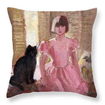 Girl With Black Cat Throw Pillow