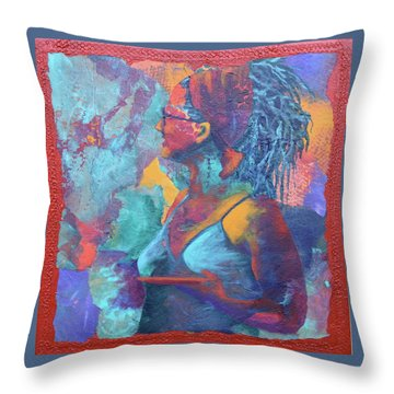 Throw Pillow featuring the painting Girl With Dreads by Nancy Jolley