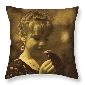 Girl With Flower Throw Pillow by Hanny Heim