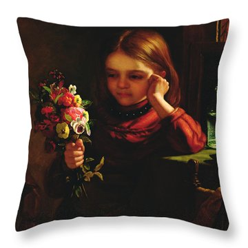 Girl With Flowers Throw Pillow by John Davidson
