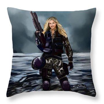 Girl With Gun Throw Pillow
