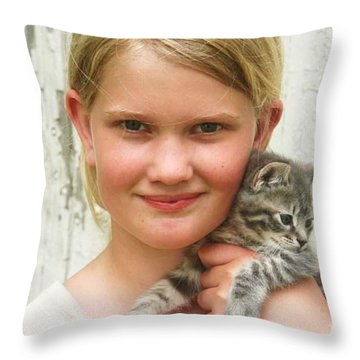 Girl With Kitten Throw Pillow